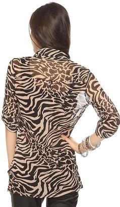 Forever 21 Sheer Animal Print Shirt