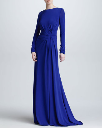 Elie Saab Long-Sleeve Gathered Jersey Gown, Blue