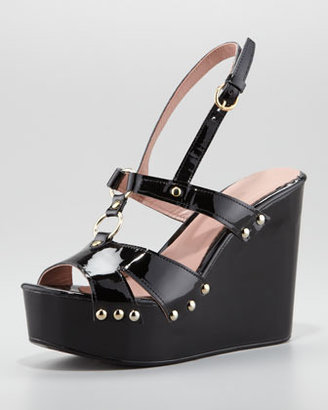 RED Valentino Patent Leather Slingback Platform Wedge, Black