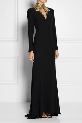 Alexander McQueen Embellished cutout crepe gown
