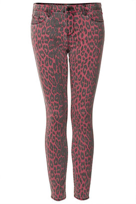 Topshop MOTO Red Leopard Leigh Jeans