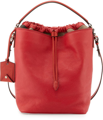 Burberry Pebbled Check-Top Bucket Bag, Red