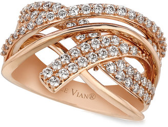Le Vian Diamond Diamond Crossover Ring (9/10 ct. t.w.) in 14k Rose Gold $4,200 thestylecure.com