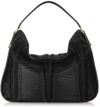 Jimmy Choo Zoe L Pleated Coated Fabric Large Shoulder Bag