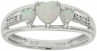 FINE JEWELRY Lab-Created Opal & Diamond-Accent Heart-Shaped 3-Stone Sterling Silver Ring