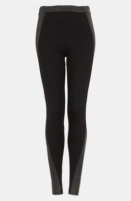 Topshop Faux Leather Panel Leggings Black 6