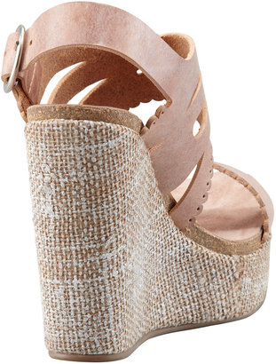 Pedro Garcia Ailyn Cutout-Scalloped Leather Wedge Sandal