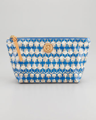 Tory Burch Evening Sky Floral-Print Cosmetic Case
