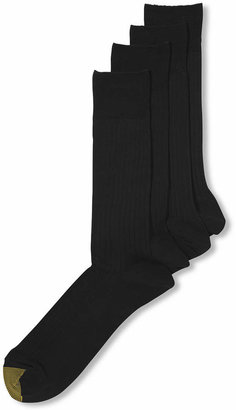 Gold Toe Men Socks, Dress Flat Knit 4 Pack