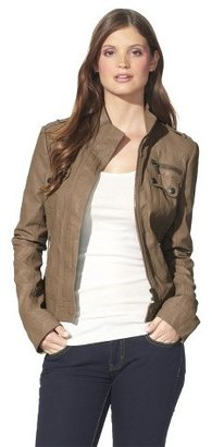 Xhilaration Junior's Side Ruched Faux Leather Jacket -Assorted Colors