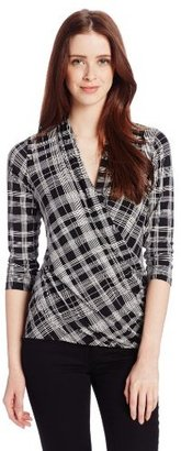 Chaus Women's 3/4 Sleeve Small Pencil Plaid Wrap Top