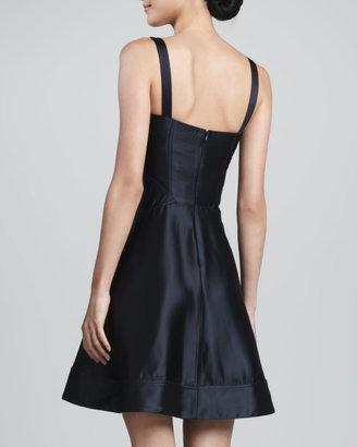 Zac Posen Satin Fit & Flare Dress, Black