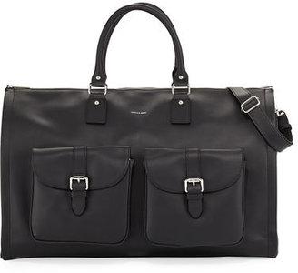 hook + Albert Pebbled Leather Carry-On Garment Weekender Bag