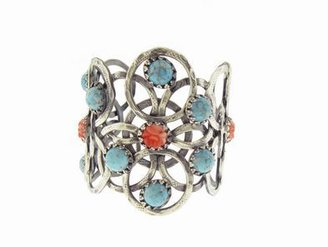 Jamie Joseph Gas Bijoux Silver Plated Cuff with Faux Turquoise and Coral