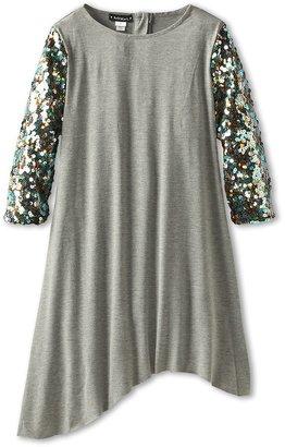 Kate Mack Strike A Pose Sequin Sleeve Dress (Grey) Girl's Dress