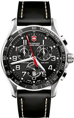Victorinox Swiss Army Watch, Men's Chronograph Classic XLS Black Leather Strap 241444 $625 thestylecure.com
