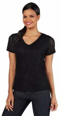 Liz Claiborne New York Eyelet Lace T-Shirt with Lining