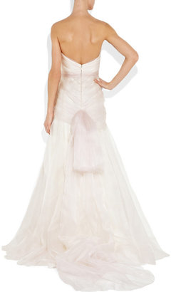 Lela Rose Pleated silk-gazar gown