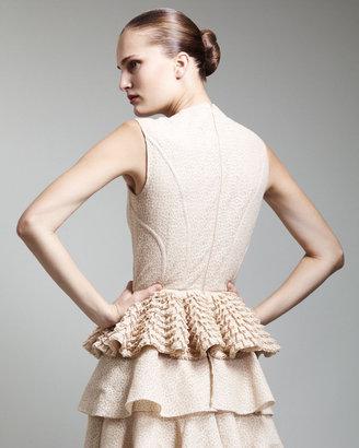 Alexander McQueen Sleeveless Lace Peplum Top