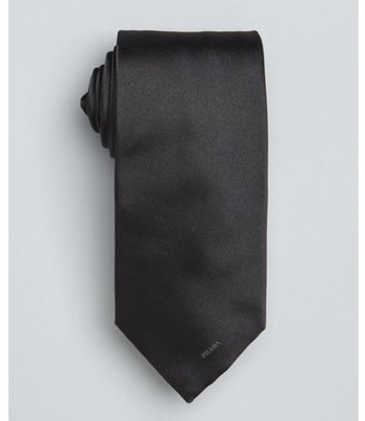 Prada smoke grey solid logo silk tie