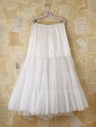 Free People Vintage White Tulle Maxi Skirt