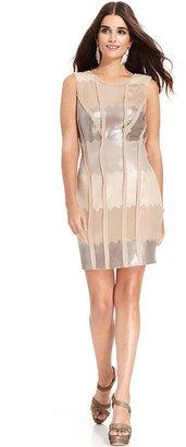 Jessica Simpson Sleeveless Sequin-Panel Sheath
