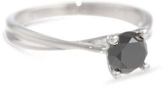 Black Diamond 10k White Gold Solitaire Ring (1 cttw), Size 6
