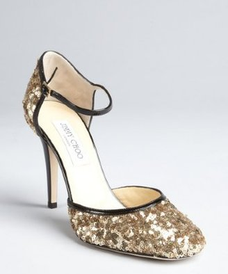 Jimmy Choo gold sequined patent leather trimmed 'Tessa' pumps