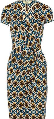 Issa Wrap-effect printed jersey dress