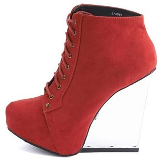 Charlotte Russe Clear Wedge Lace-Up Bootie