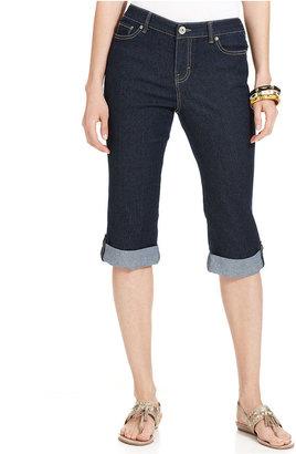 Style&Co. Jeans, Straight-Leg Roll-Tab Capri, Rinse Wash