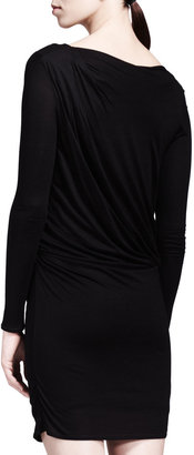 Helmut Lang HELMUT Ruched Jersey Overlap Dress