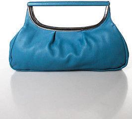 AX Armani Exchange Blue Leather Silver Tone Hardware Clutch Handbag