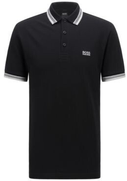 HUGO BOSS Cotton-pique polo shirt with striped collar and cuffs