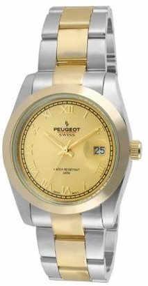 Peugeot PS4911TT Swiss Women's Two Tone Roman Numeral Gold Dial Watch