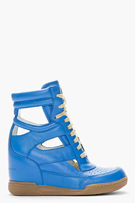 Marc by Marc Jacobs Blue Cut-Out Leather Sneaker Wedges