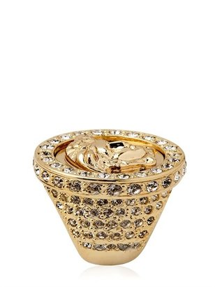 Versace Medusa Crystal & Gold Plated Metal Ring