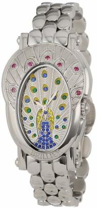 Brillier Women's 18-07 Royal Plume Peacock Inspired Swiss Genuine Red Rubies Watch