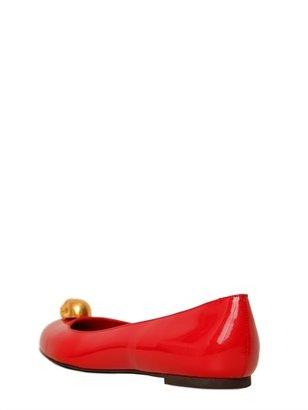 Alexander McQueen 10mm Patent Leather Skull Ballet Flats