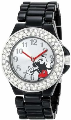 Disney Women's MK2074 Mickey Mouse Dial Black Enamel Bracelet Watch