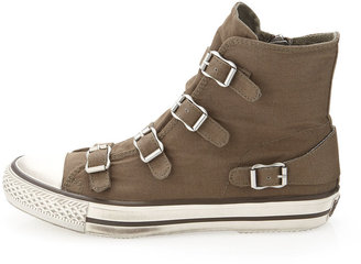 Ash Canvas Buckled Hi-Top Sneaker, Army