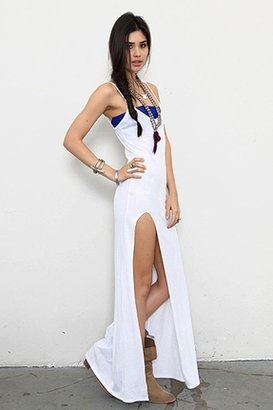 Blue Life Tank Dress with Slit Front in White