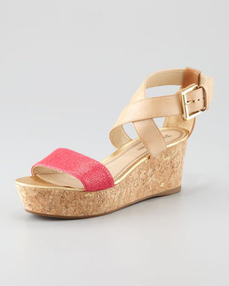 Juicy Couture Forrest Cork Wedge Sandal, Hot Pink