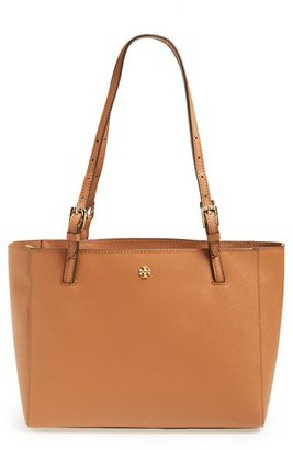 Tory Burch 'Small York' Saffiano Leather Buckle Tote - Brown $245 thestylecure.com