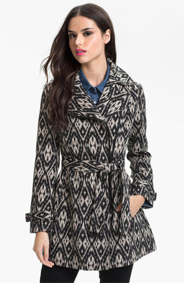 Kenneth Cole New York Asymmetrical Zip Print Trench Coat