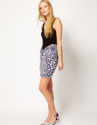 See by Chloe Blossom Print Skirt with Ruched Detail