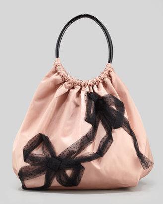 RED Valentino Valentino Red Nylon Mesh-Bow Balloon Bag, Cameo