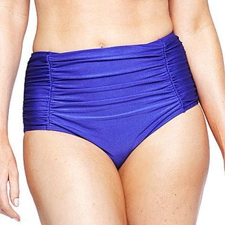 JCPenney Ocean Dreams® Solid Shirred High-Waist Swim Bottoms