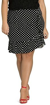 City Chic Plus Dotted Faux-Wrap Ruffle Skirt