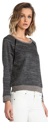 Alice + Olivia Long Sleeve Raglan With Leather Elbow Patch